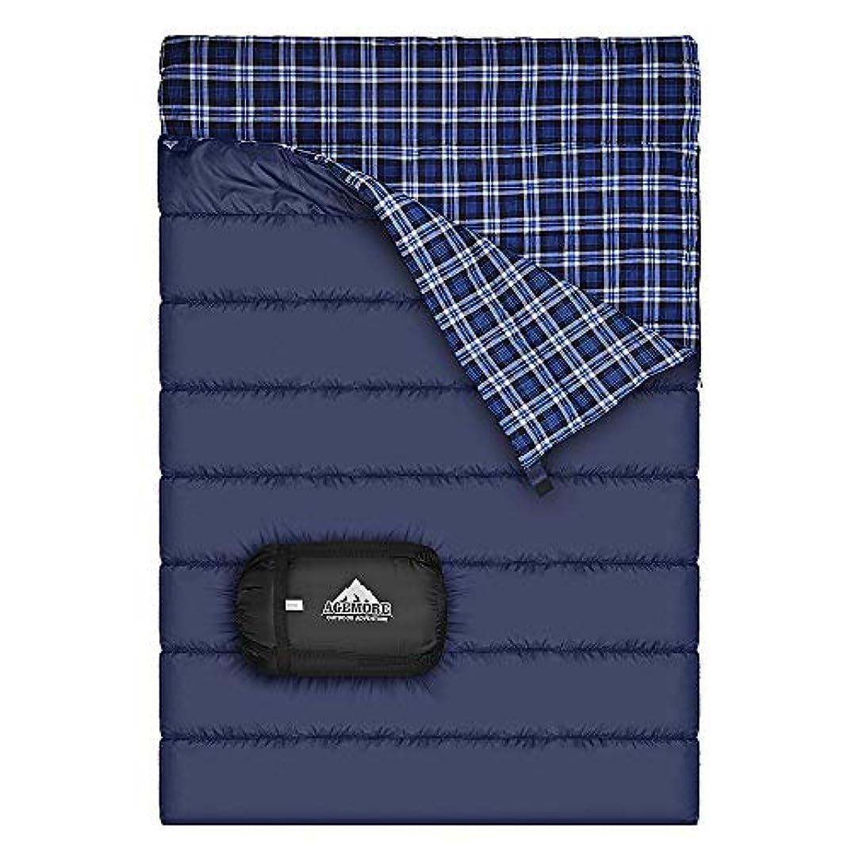 市民ペニー真実に寝袋 2人用 封筒型 コンパクト フランネル中綿 収納袋付き 登山 車中泊 防災用