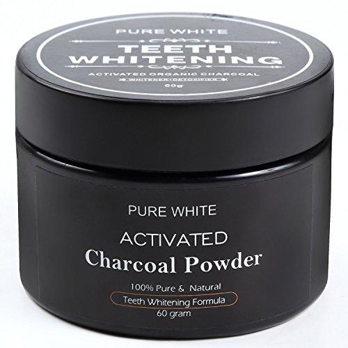 PURE WHITE 歯を白くする 活性炭ホワイトニング コーヒー•タバコ•ワインによる黄ばみを取り除く