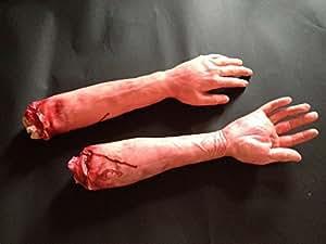 超リアル 切断 された 手 腕 脚 ホラー ハロウィン 文化祭 お化け 屋敷 ジョーク おもしろ グッズ (腕 2本 セット)