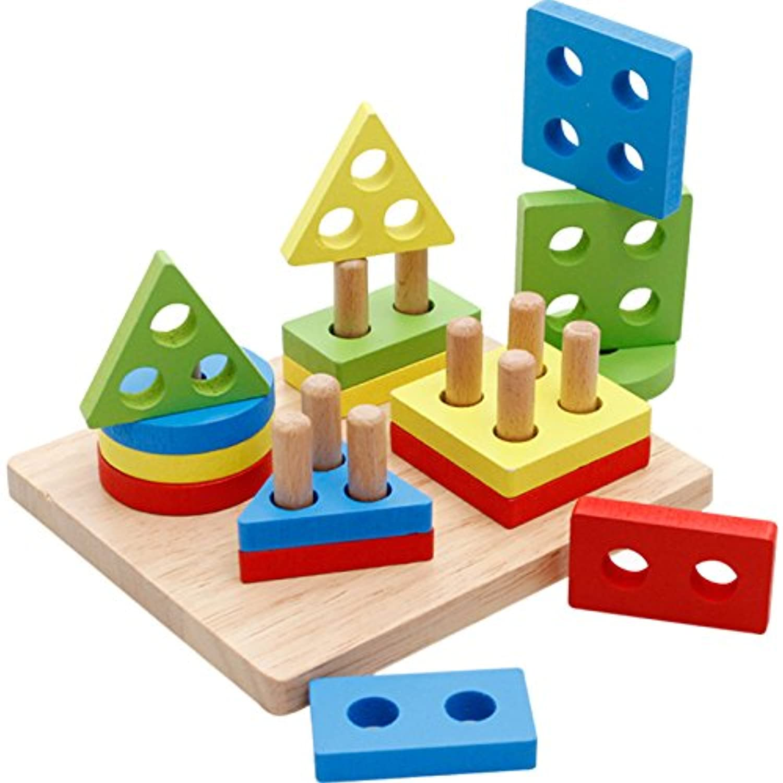 kingsung子供の日ギフト木製パズル幼児教育玩具形状ソーターPreschool幾何ブロックStacking Games for Kids