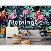Hwhz カスタム壁紙3Dフラミンゴ熱帯の葉写真壁紙壁画家の装飾自己接着ビニール-280X200Cm