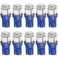 T10 LED 車用 ライト 5SMD W5W ウェッジ球 車内ランプ 194 168 2825 5050 5チップ LEDサイドライト ポジション ブルー ルームランプ バルブ 10個入り (ブルー)