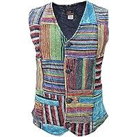 Gheri Men's Top Patchwork Striped Boho Full Button Stonewashed Waistcoat