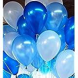 【Fuwari】 極厚 バルーン 光沢 風船 100個 (+予備バルーン20個)  空気入れ  リボン セット 運動会 学園祭 結婚式 誕生日 パーティー 卒業 入学 イベント  ハロウィン 飾り付け (ブルー+ホワイト+ライトブルー)