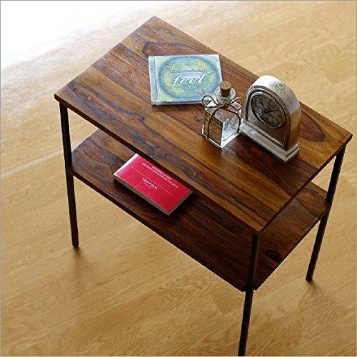サイドテーブル 木製 アイアン 棚付き シーシャムサイドテーブル B [kan3304]