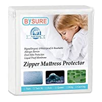 BYSURE ジッパー付きマットレスカバー - 100% 防水 - 低刺激性、防ダニ、防トコジラミ、通気性のあるマットレスプロテクター フル ホワイト BYSURE BS017B