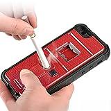 ZVE iPhone6 ケースiPhone6s ケース ライター 栓抜き カメラ三脚機能付きケース アイフォン6s 4.7インチ 耐衝撃カバー(iPhone6, レッド)