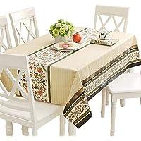 Qualsen テーブルクロス長方形 北欧 テーブルカバー 撥水 耐熱 防水 防油 PVC製 おしゃれ 137×200cm(テーブルランナー スタイル)