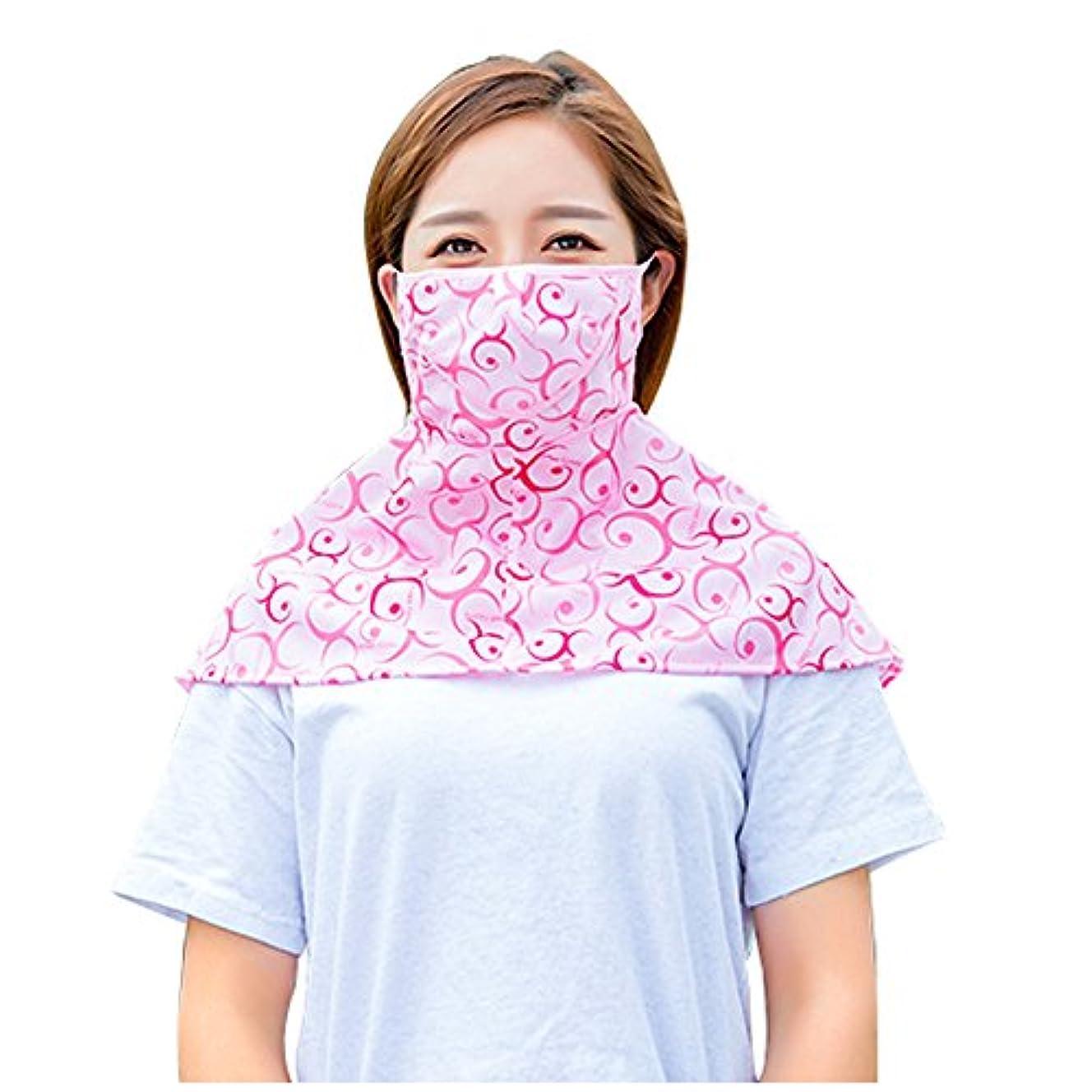 差別する遠征朝PureNicot 日焼け防止 フェイスマスク UVカット 紫外線対策 農作業 ガーデニング レディース 首もともガード 3D UVマスク (ピンク 模様)