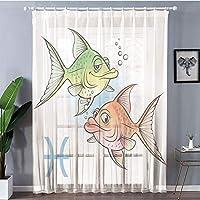 UVカット レースカーテン お部屋が明るい!でもしっかり UVカット 外から見えにくい 2枚100x198cm 占星術、かなり愛のカップル魚ニモ誕生日ロマンス家の装飾と魚のシンボル装飾、グリーンオレンジ