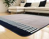 ラグ 洗える 185×185 ラグマット 滑り止め付 マット ラグカーペット 夏 冬 カーペット ホットカーペット対応 フランネル 長方形 四角 絨毯 リビング 床暖房対応 マイクロファイバー Mサイズ (Mピアノキー・ブルー)