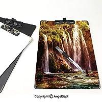 フォルダーボードフォルダーライティングボード 自然の装飾 事務用品の文房具 (2パック)滝の森の木コケ湖の石岩世界のイメージの不思議緑と茶色