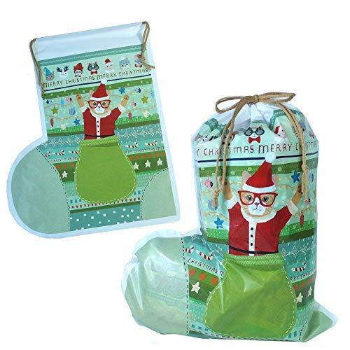 クリスマスブーツ cr-bt-oks(01/ねこ グリーン) 巾着 駄菓子 詰め合わせ セット オリジナル スナック ノベルティ 遠足 パーティー 誕生日 季節 イベント 子供 キッズ ギフト プレゼント