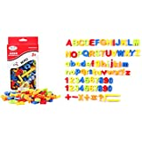 HJXDJP - 就学前幼児教育ツール、英語アルファベット、数字と数学記号、合計80枚磁気教材パッチ