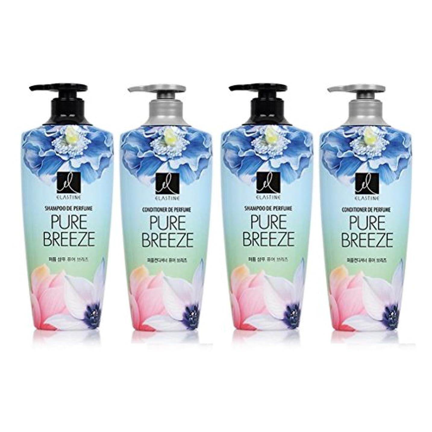 なめらかモンキー浸漬[エラスティン] Elastine Perfume PURE BREEZE 4本 セット / シャンプー(600ml) + コンディショナー(600ml) / パフュームピュアブリーズ [並行輸入品] (シャンプー 2本...