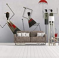 Sunkumo カスタム壁画壁紙現代3D立体エンボス抽象アート壁画漫画キャラクター子供ルーム寝室壁画-280X217Cm