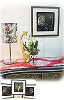 木彫りアート ウッドスカルプチャー 森と鳥B ウッドアートパネル モダン 絵画 壁掛け 木製 アジアン雑貨 インテリア 45×45