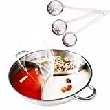 MineDecor 火鍋 仕切り鍋 三味鍋 ステンレス IH対応 両手 仕切り 付き 3食 鍋 しゃぶしゃぶ鍋 卓上鍋 (3-8人用)