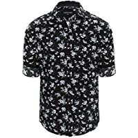Tarocash Men's Noir Floral Slim Print Shirt Cotton Slim Fit Long Sleeve Sizes XS-5XL for Going Out Smart Occasionwear