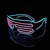 Eximone 音楽 眼鏡 LED 点滅する光 ゴーグル ディスコ ダンス パーティー クラビング (ブルーとピンク)