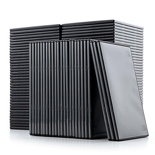『サンワダイレクト DVDケース スリム トールケース 100枚 7mm厚 1枚収納 ブラック 200-FCD039BK-100』のトップ画像
