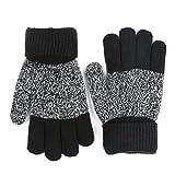 Caseeto 手袋 ニット 子供 手袋 裏地フリース 5本指手袋 軽量 厚手 汚れにくい 4-7歳子供に適用 暖かく グローブ (手袋, ブラック)