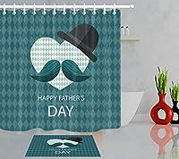 Amxxy ハッピー父の日口ひげ黒帽子シャワーカーテンバスルームマットセット防水布耐久性のある清掃が簡単なバスルームシャワールームホテル、フランネル素材バスマット付き