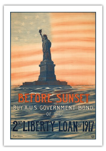 日没前に - 日没前1917年の第二リバティローンの米国国債を購入します - ビンテージな政治的なポスター によって作成された ウジェニー・ド・ランド c.1917 - 美しいポスターアート