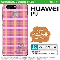 P9 スマホケース HUAWEI ケース ファーウェイ ピーナイン イニシャル チェックB ピンク nk-p9-434ini W