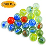 Oruuum 240 Pcs Small Marbles and 14mm Marbles in Bulk Glass Marbles, Assorted Colors.