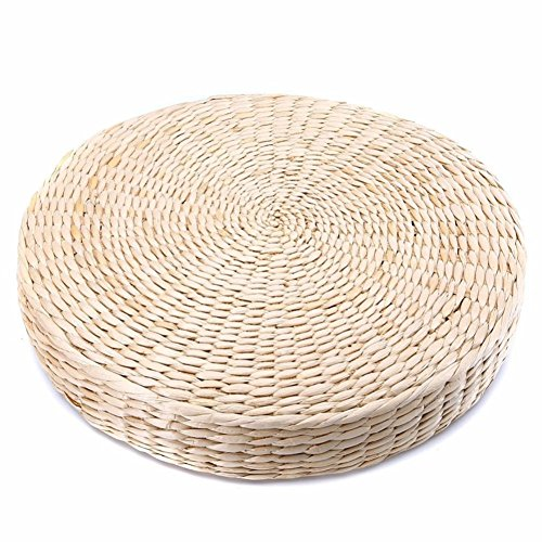 織り草フロアクッション、ラウンドプーフ畳椅子パッドヨガシート...