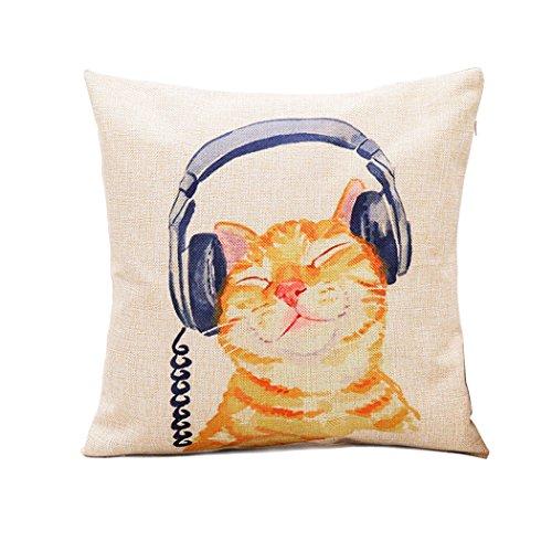 i-BOSOM 猫家族 クッションカバー 枕カバー ピローケース インテリア 45×45cm (ヘッドフォン)