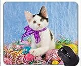 ステッチマウスパッド、動物の赤ちゃんイースターエッグ子猫動物イースターの猫卵ホームオフィスコンピュータアクセサリーマウスパッド Yanteng