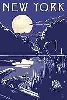 ニューヨーク–夜の湖 24 x 36 Giclee Print LANT-69105-24x36