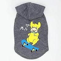 春夏スウェットシャツズボンの足のない柔らかいかわいい衣装屋内/屋外の小さい中型犬の子犬のないテディ犬ブルドッグプードルBichon Frizeチワワコーギーなどクールブルーグレーの帽子,Gray,S