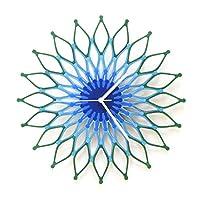 Peacock (ピーコック) - 41cm青と緑のスタイリッシュな木製の壁の時計 (L)
