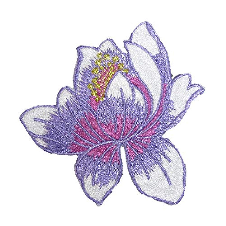 十分です手つかずの乱気流アイロンワッペン 刺繍 蓮 (8)