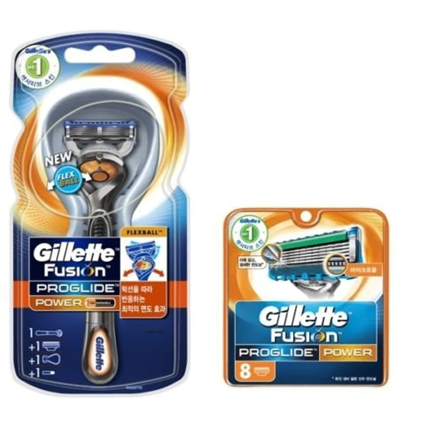 高い測定チップGillette Fusion Proglide Flexball Power Men's 1 剃刀 9 かみそりの刃 [並行輸入品]