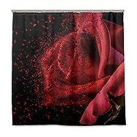 LIASDIVA 防水 シャワーカーテン、バラ赤フラグメンテーション花びら夢ファンタジーロマンチックな休日シンプルブラック、バスカーテン パーソナライズされたファッションパターン装飾、カーテンフック 付き