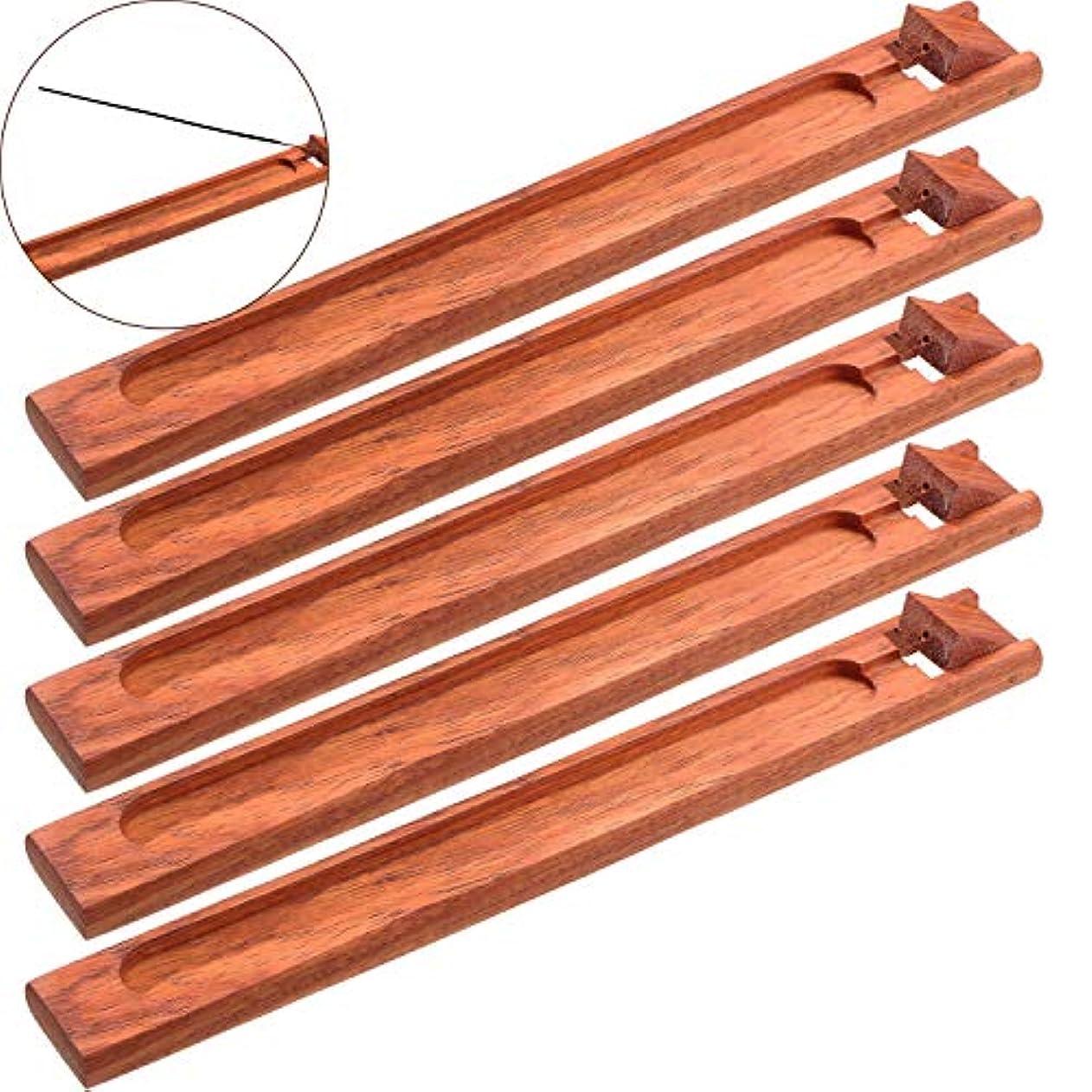 懐疑論野生手配するBoao お香立て 5本セット 灰受け 9.06インチの長さ レッド Boao-Bamboo Incense Holder-01