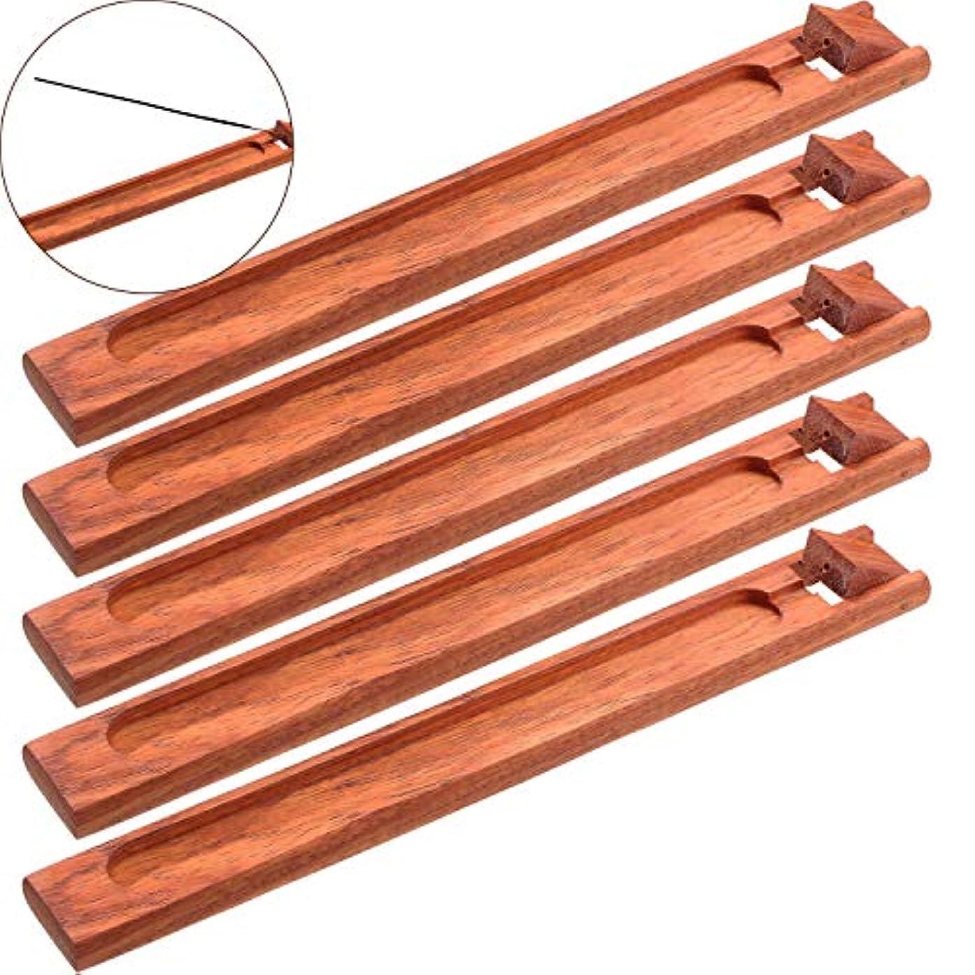 十高齢者程度Boao お香立て 5本セット 灰受け 9.06インチの長さ レッド Boao-Bamboo Incense Holder-01