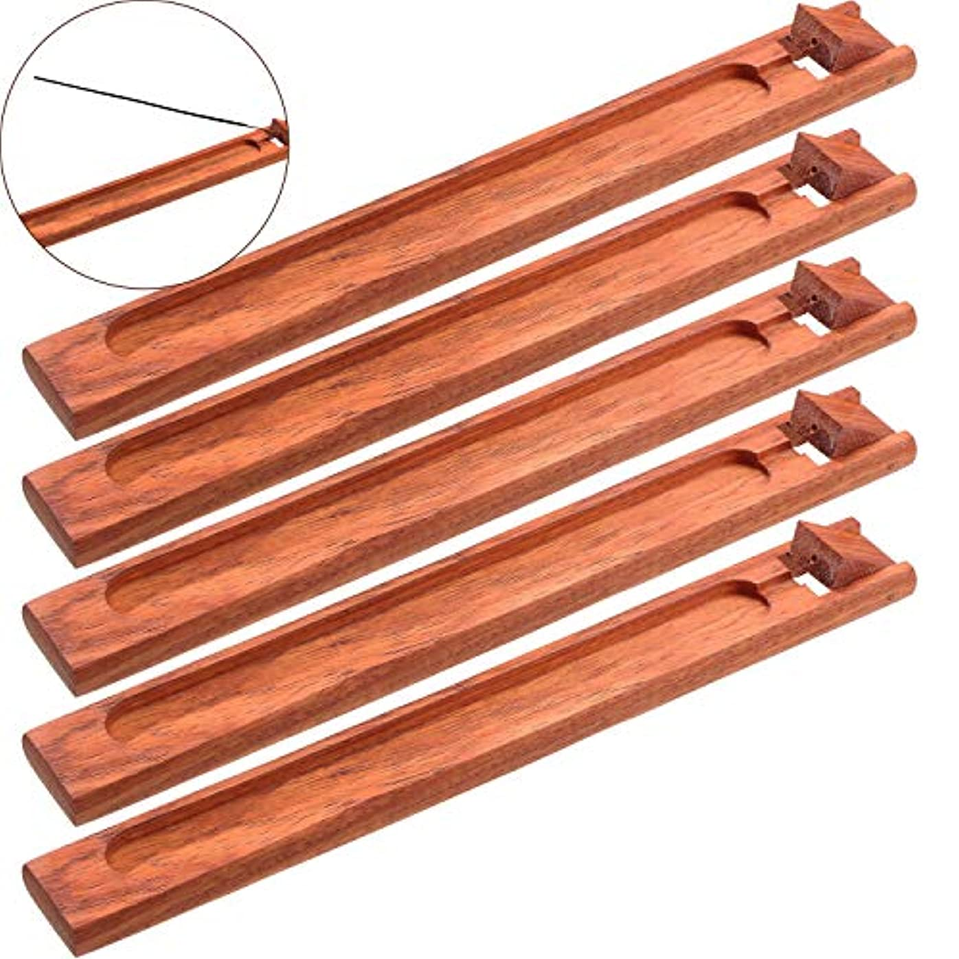 飢えたびっくり精緻化Boao お香立て 5本セット 灰受け 9.06インチの長さ レッド Boao-Bamboo Incense Holder-01