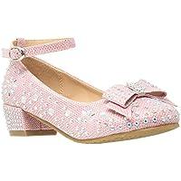 SOBEYO Kids Dress Shoes Girls Glitter Rhinestone Bow Accent Mary Jane Pumps Pink SZ 2 Youth