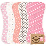 Organic Burp Cloths for Baby Girls - 5-Pack Ultra Absorbent Burping Cloth, Burp Clothes, Newborn Towel - Milk Spit Up Rags - Burpy Bib for Girl - Burp Cloths Set (Pink Dreams)