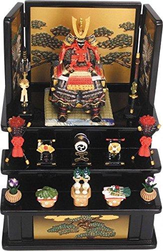 ミニ五月人形 端午の節句『鎧大赤三段飾り(黒)5086』鎧飾...