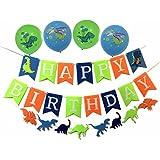 Alemon 3 in 1-dinosaurs Banner Happy BirthdayガーランドDino Balloons Decorations for Kids boys-party SuppliesパーティーFavorsキット(グリーン、ブルー、オレンジ