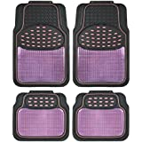 BDK Metallic Rubber Floor Mats for Car SUV & Truck - Semi Trimmable, 2 Tone Color Heavy Duty Protection(Pink/Black)