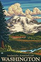 パラダイスInn–MT。Rainier , WA 16 x 24 Signed Art Print LANT-8783-709