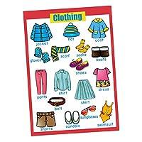 P Prettyia 家庭 保育園 幼稚園 壁ポスター 子ども 英語 学習 壁紙 学習ポスター 多種選択可能  - 衣類