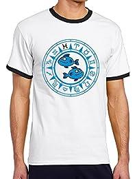 大人 半袖Tシャツ カートゥーン サーモン うお座 ハイクオリティー V首 吸汗 シャツ トレーニング 通勤 Black Size XL